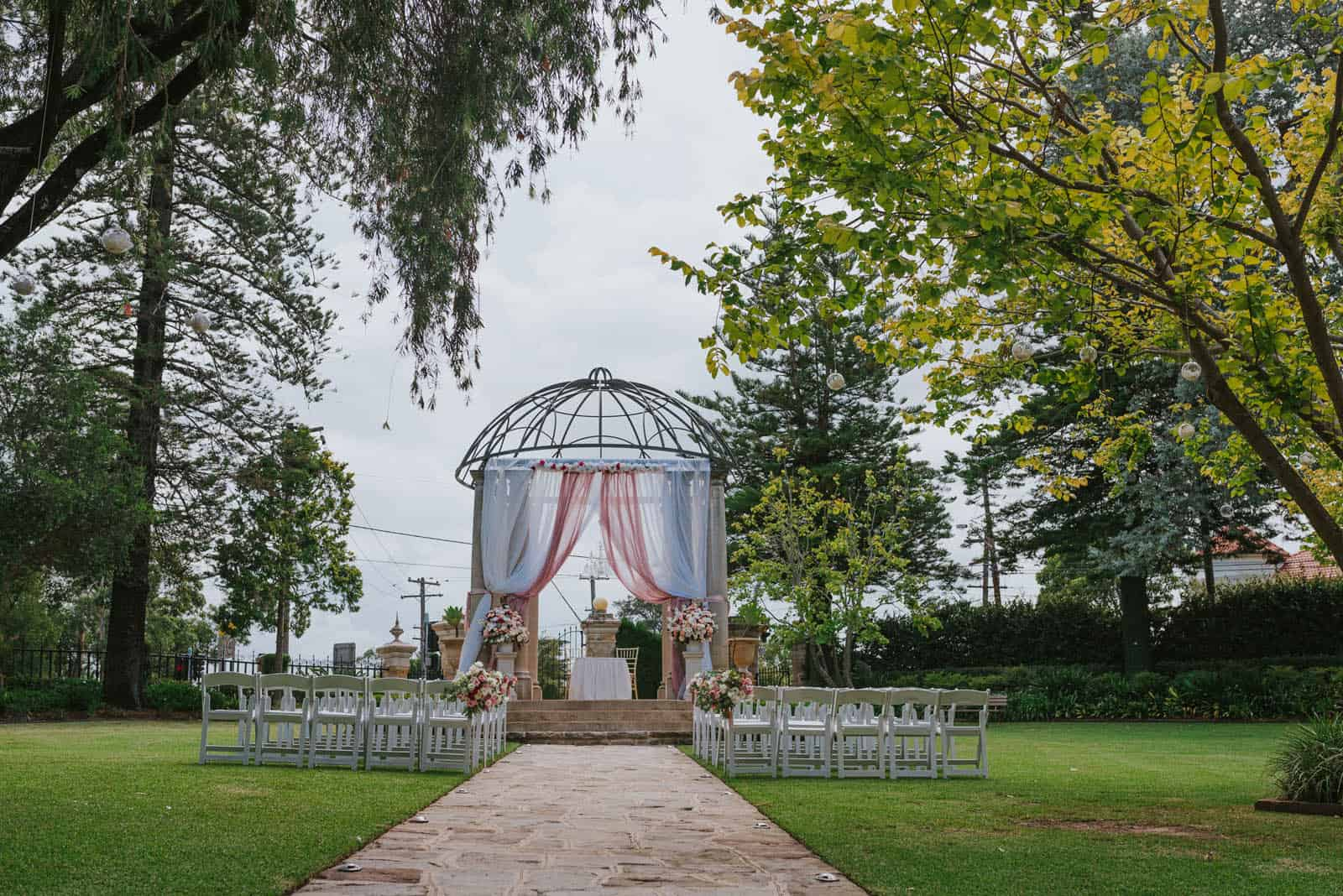 eternal garden set up for an outdoor wedding ceremony at curzon hall